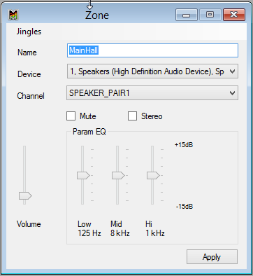 Zonen Editor Panel, Audio Ausgang, Kanäle, Equalizer