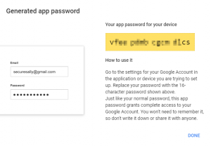 Google Authenticator app password